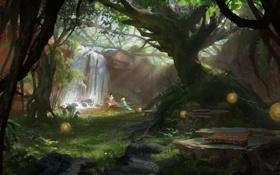 Картинка деревья, девушки, водопад, сад, арт