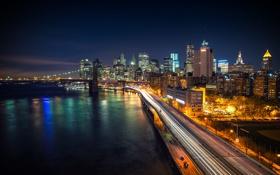 Картинка дорога, ночь, мост, город, огни, река, дома