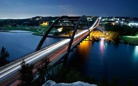 Картинка USA, река, ночь, мост, Austin, Texas, огни