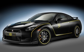 Обои Nissan, GT-R, black, передняя часть, Cobra Technology