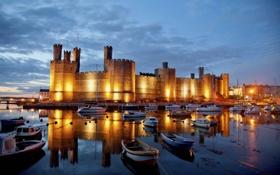 Обои city, замок, Англия, дома, яхты, лодки, вечер