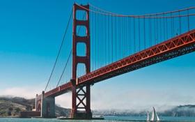 Картинка небо, вода, океан, парусник, залив, Сан-Франциско, Золотые ворота