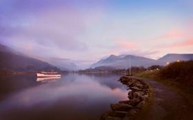 Картинка тишина, широкоформатые обои 2560x1600, океан, красивые обои на рабочий стол, катера, вода, раннее утро