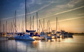 Картинка пристань, бухта, яхты, утро