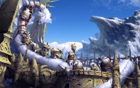 Обои горы, дракон, жертва, арт, монстры, хвост, раны