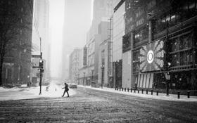 Картинка зима, снег, город, улица, небоскребы, Чикаго, Иллинойс