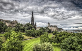 Обои деревья, дома, небо, Шотландия, hdr, мост, Эдинбург