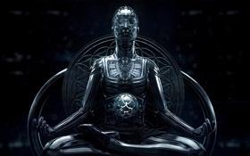 Обои сфера, робот, art, фантастика, sci-fi, поза