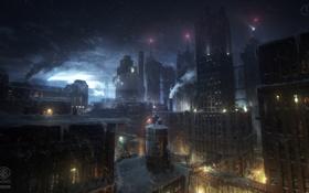 Картинка зима, снег, ночь, трубы, город, дым, здания