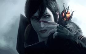 Обои девушка, арт, маг, посох, Dragon Age 2, Hawke