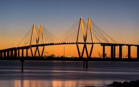 Обои город, река, мост, Texas, Fred Hartman bridge, Baytown, расвет