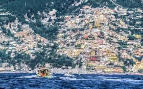 Картинка Позитано, катер, море, Салерно, дома, горы, Италия