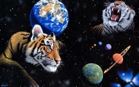 Обои космос, планета, арт, Земля, тигры, William Schimmel