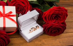 Обои подарок, розы, букет, кольца, красные, red, flowers