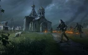 Картинка огонь, апокалипсис, человек, деревня, зомби, церковь, DayZ