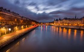 Картинка небо, облака, ночь, огни, река, париж, дома