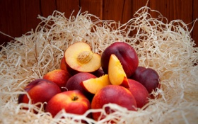 Обои косточка, фрукты, нектарин, дольки