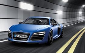 Картинка синий, Audi, Ауди, суперкар, тоннель, передок, V10