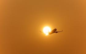 Обои закат, самолёт, беда, Boeing