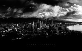 Обои шторм, город, тьма