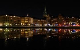 Картинка ночь, огни, праздник, елка, дома, набережная, Скандинавия