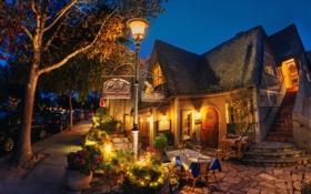 Обои здание, Калифорния, фонарь, California, Carmel, PortaBella Restaurant, Кармел