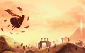 Картинка полет, пустыня, гора, арт, существа, руины, листки
