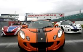 Картинка гонка, трасса, Lotus, white, race, orange, Elise