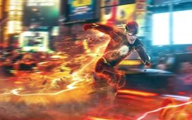 Обои город, скорость, бежит, супергерой, comics, flash, dc comics