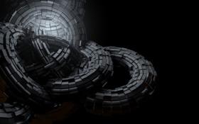 Обои рендеринг, фон, обои, черный, графика, кольца