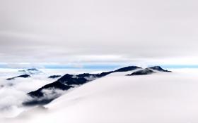 Картинка облака, горы, холмы, вершины, высота