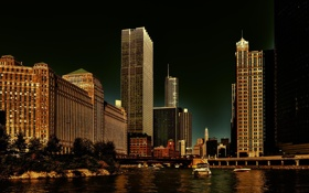 Обои река, здания, небоскребы, Чикаго, USA, Chicago, мегаполис