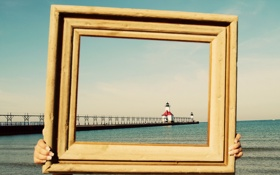Обои море, пейзаж, маяк, рамка