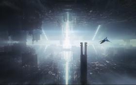 Обои свет, город, корабль, арт, мегаполис