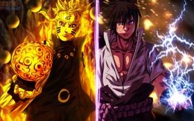 Обои Sasuke, Naruto, anime, Sasuke Uchiha, Naruto Uzumaki