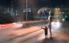 Картинка дорога, снег, машины, город, огни, знак, робот
