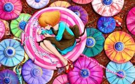 Обои глаза, арт, зонтики, девочка