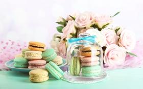 Обои розы, печенье, десерт, sweet, dessert, cookies, macaron