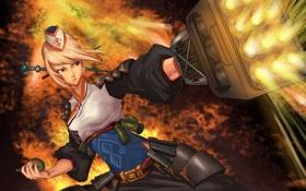 Обои девушка, оружие, граната, арт, dungeon fighter online