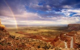 Обои облака, радуга, юта, долина богов, трасса 163