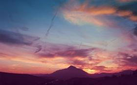 Обои закат, пейзаж, небо, природа, цвета, скала, гора
