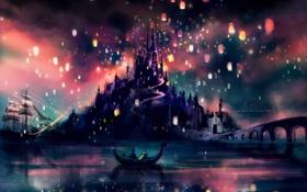 Картинка отражения, ночь, мост, озеро, блики, замок, лодка