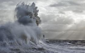 Картинка море, небо, тучи, шторм, маяк