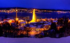 Обои зима, небо, снег, ночь, мост, природа, огни