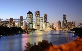 Обои огни, дома, яхты, вечер, Австралия, высотки, Australia