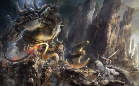 Картинка девушка, камни, оружие, скалы, конь, монстр, меч