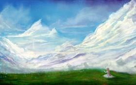 Обои трава, облака, горы, природа, бабочка, арт, сидя