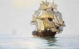 Обои море, корабль, парусник, штиль, фрегат, Montague Dawson