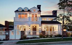 Обои дизайн, город, дом, фото, фонари, особняк