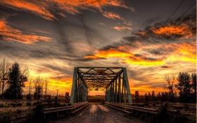 Обои пейзаж, ночь, мост
